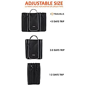 Toiletry Bag (13 Inches) with 3 Detachable Pockets + Waterproof Multi-Use Bag - Travel Hanging Toiletry Bag for Men or Women - Best Large Hygiene Bag & Toiletries Storage +2 Bonus Best-Selling EBooks