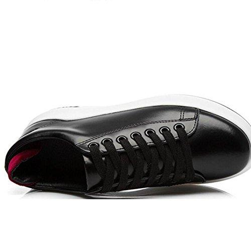L@YC Frauen-flache lederne Schuhe beil?ufige Art- und Weisejoker-B¨¹gel-Schuh-Schwarz-Wei? Black