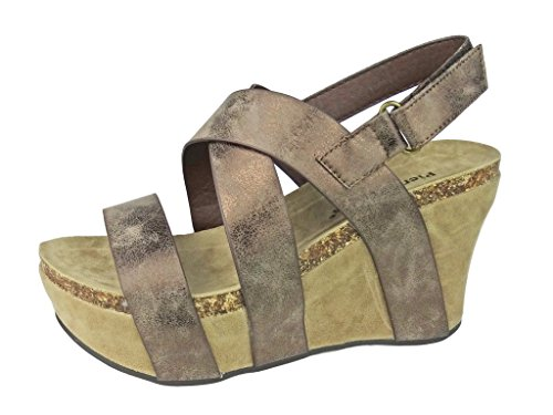 - Pierre Dumas Women's Hester-5 Vegan Leather Strappy Wedge Sandals,Bronze,6