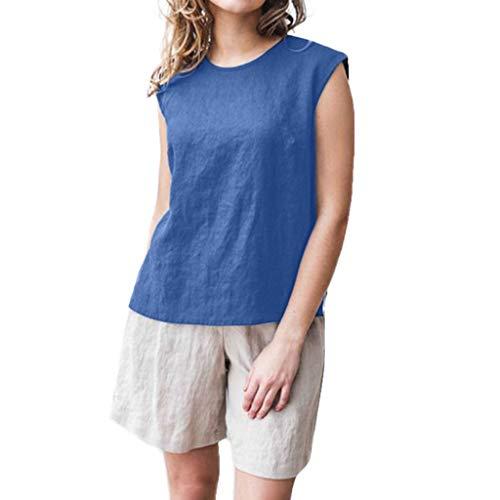 Pleated Brushed Twill Slack - FEDULK Womens Summer Fashion Tees Tank Top Crew Neck Sleeveless Plain Split Personality Casual Blouse(Blue, Large)