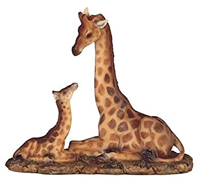 "StealStreet SS-G-54440 9.5"" Giraffe Sitting with Baby Sitting Down Statue Figurine"