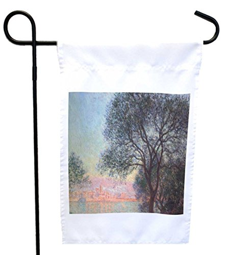 Rikki Knight Claude Monet Art Antibes Seen from La Salis House or Garden Flag with 11 x 11-Inch Image, 12 x 18-Inch