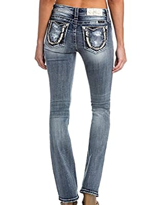Miss Me Women's Mid-Rise Boot Cut Jeans With Horseshoe Back Pockets
