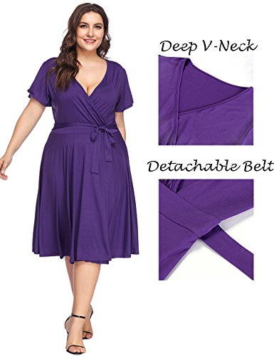 PARTY LADY Women\'s V-Neckline Stretchy Casual Midi Dress Floral Print Plus  Size 4XL Purple