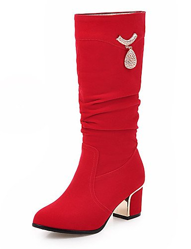 Rundeschuh XZZ uk4 cn36 eu36 Blockabsatz Damenschuhe Stiefel Festivität Schwarz Party Rot Stiefel Büro red us6 Kleid amp; Vlies Modische zzqrAT