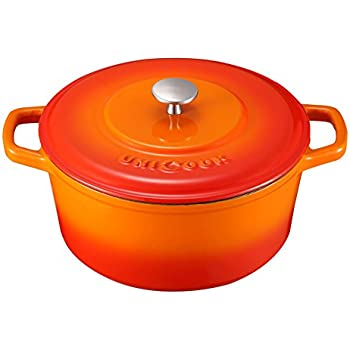 Unicook Enameled Cast Iron Dutch Oven, Cast Iron Pot with Self Basting Lid, 5 Quart Round Covered Casserole Cookware, Heat Retention, Perfect for Baking, Braising, Roasting and Slow Cooked Meal, Flame