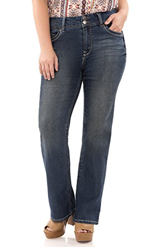 WallFlower Juniors Plus Size Long Inseam Luscious Curvy Basic Bootcut Jeans in Katy Size:16 Plus Long