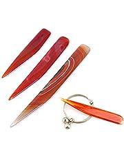 Chiloskit Natural Agate Burnisher Polishing Knife Edge Craft Hand Jewelry Making Tools
