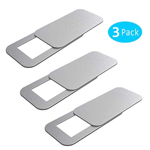 WeThinkeer T10 Laptop Camera Cover [3 Pack], 0.03 inches Super Slim Slide Webcam Cover for Computer, iMac, Macbook Pro, Cell Phone, Web Cam Security Cover Protect Your Privacy, Camera Blocker - Silver