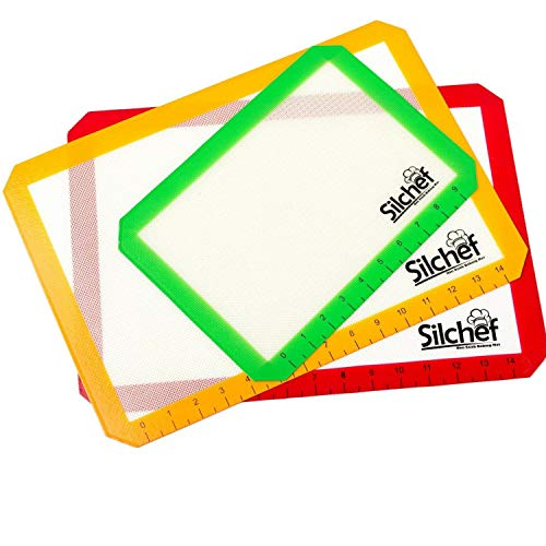 Silicone Pan Liners (Silchef Silicone Baking Mat – 3 Pack Non Stick Baking Mats with Measurements, 2 Half Sheet Liners and 1 Quarter Sheet Baking Mat, Professional Quality, Non Toxic and FDA Approved)