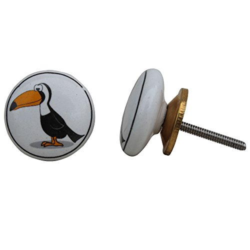 Indianshelf Handmade Fauna Ceramic Kitchen Knobs Cabinet Pulls Dresser Handles(Toucan Bird_White)-Pack of 4