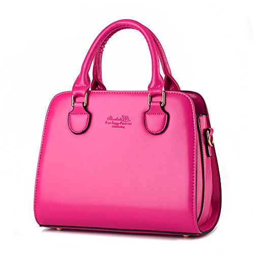 Wewod bolsa de mensajero hombro/bolsa de hombro moda/bandolera bolso mujeres grande/Carteras de mano con asa 28 x 22 x 12 cm (L*H*W) Rose Red