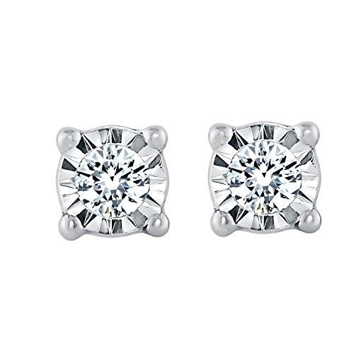 Sterling Silver 1/10cttw Diamond Stud Earring for Women (sterling-silver)