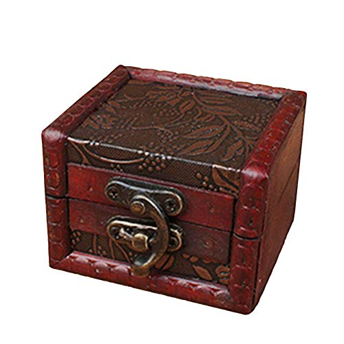 Hofumix Vintage Small Jewelry Earring Necklace Storage Wooden Case Box Holder Container -C