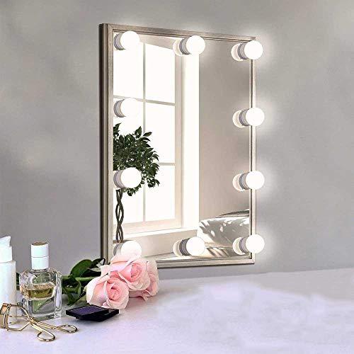 Aolvo Hollywood - Kit de Luces de Espejo retrovisor LED, luz Regulable DE 9,8 pies con 10 Bombillas para Cambiador de baño,...