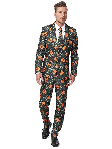 Suitmeister - Pumpkin Leaves - Halloween Suit for Men in Stylish Print - Full Set: Includes Jacket, Pants and Tie - XL