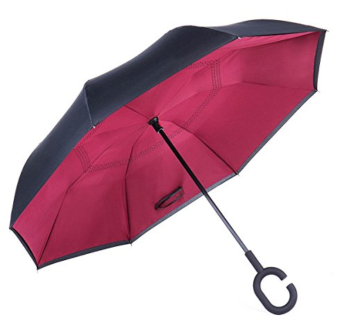 DF Wind Proof Double Layer Inverted Reverse Folding C-Shaped Wrist Secured Handle Vehicle Car Umbrellas (Red)