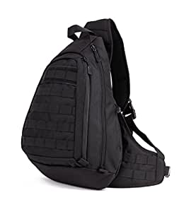 Protector Plus Tactical Military Sling Chest Pack Bag Molle Daypack Laptop Backpack Large Shoulder Bag Crossbody Duty Gear For Hunting Camping Trekking (Black)