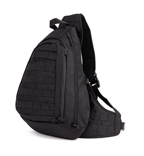 Duty Chest (Protector Plus Tactical Military Sling Chest Pack Bag Molle Daypack Laptop Backpack Large Shoulder Bag Crossbody Duty Gear For Hunting Camping Trekking (Black))