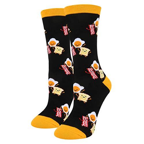 (Women's Girls Novelty Crazy Food Crew Socks Funny Colorful Fried Eggs Bacon Bread Socks in Black)