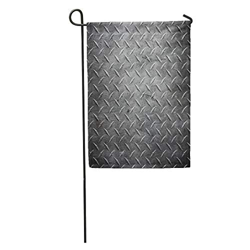 - Semtomn Garden Flag Silver Steel Metal Diamond Plate Abstract Industrial Iron Floor Pattern Home Yard Decor Barnner Outdoor Stand 12x18 Inches Flag