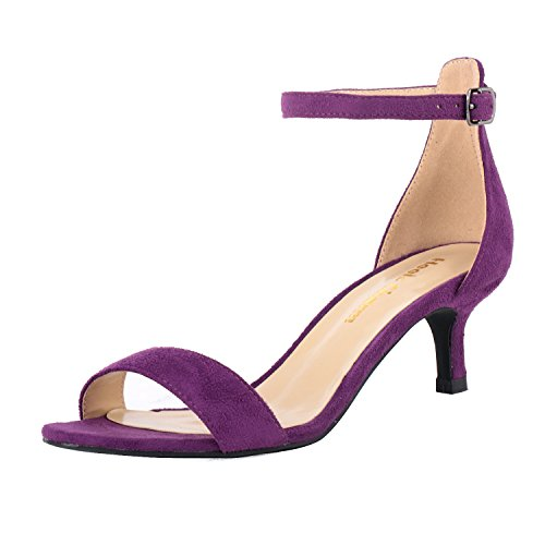 (Women's Heeled Sandals Ankle Strap High Heels 5CM Open Toe Low Sandals Bridal Party Shoes Velvet Purple Size 7.5)
