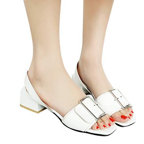 Scarpe Sammoson Dimensioni Donna Medio Bianca Stati Sandali Alto Tacco Di Grandi Tondi Uniti Una Parola Con Da FrvqpFw