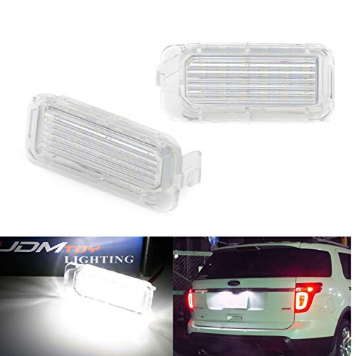 iJDMTOY OEM-Fit 3W Full LED License Plate Light Kit For Ford Explorer Escape Fusion Fiesta, Powered by 18-SMD Xenon White LED