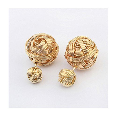 Winter's Secret The European and American Fashion New Personality Gold Color Metal Double Knitting Wool Ball Stud Earring (Big Barker Replacement Cover compare prices)