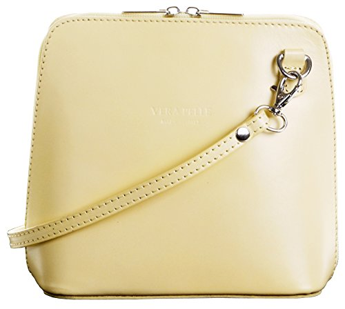 Italian Leather, Lemon Small/Micro Cross Body Bag or Shoulder Bag Handbag. Includes Branded a Protective Storage Bag.