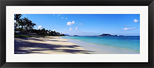 Palm trees on the beach, Lanikai Beach, Oahu, Hawaii, USA by Panoramic Images Framed Art Print Wall Picture, Black Frame with Hanging Cleat, 33 x 15 inches by Great Art Now