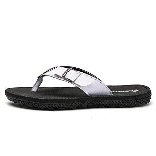 44EU fino White 45 Slipper in Flop Juan uomo da bottoni moda Flip shoes Scarpe Sandali Color con metallo britannica Brown alla taglia Mens Size nngO8ZBwU