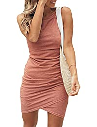 ceaf2c6c5c0 Women s 2019 Casual Crew Neck Ruched Stretchy Bodycon T Shirt Short Mini  Dress