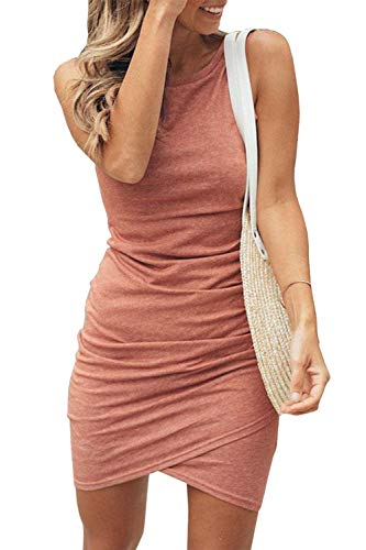 Casual Mini Dress - BTFBM Women's 2019 Casual Crew Neck Ruched Stretchy Bodycon T Shirt Short Mini Dress (106Pink, Large)