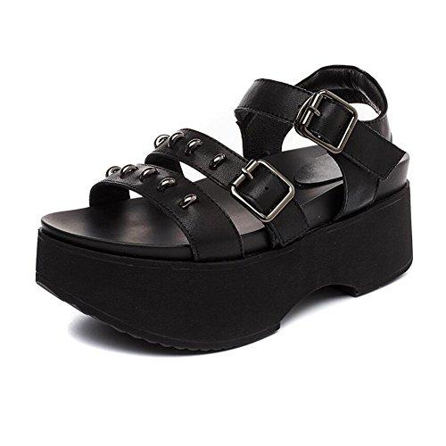 Sandales Dames Cjc Chaussures De Sport Peep Toe Talon Compensé De Femmes Hauts Talons 6.5cm (couleur: Noir, Taille: Eu38 / Uk5.5 / Cn38) Noir