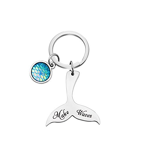 TGBJE Mermaid Tail Keychain Make Waves Keychain Inspirational Gift for Her (Make Waves) ()