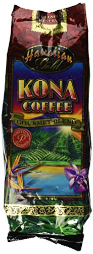 Hawaiian Gold Kona Coffee Gourmet Blend Coffee 1 Lb. Whole Beans