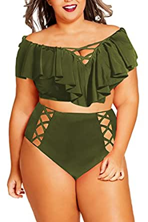 Women Plus Size Swimsuit Olive Green XL 14