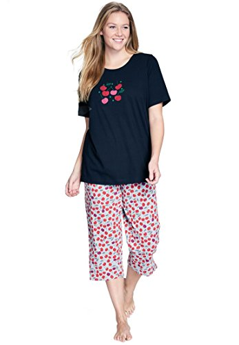 Dreams & Co. Women's Plus Size 2-Piece Pajamas . Heather Grey Cherries,4X