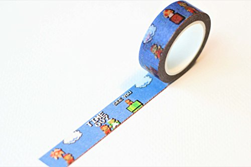 Cute Gaming Inspired Washi Masking Tape, 30ft Decorative Nintendo, Tetris, Mario, Pokemon, Pikachu Craft Tape, Custom Pattern Japanese Anime Washi Tape for DIY Crafts (Mario Blue) - Squirtle Costume Diy
