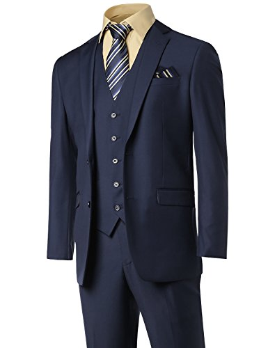 3Pcs Suit Blazer Vest&Dress pants Navy Size 46S (Short Suit Separates)