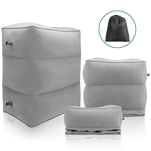 Mount Plus Inflatable Travel Foot Rest Pillow- Toddler & Kids Bed Airplane Bed, Inflatable Foot Rest for Air Travel…