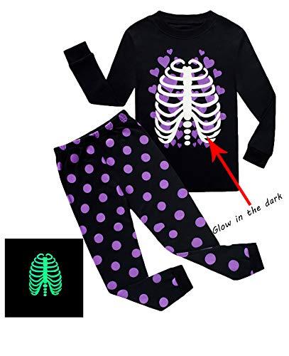 Family Feeling Little Girls Golw-in-The-Dark Skeleton Halloween Costumes Pajamas Sets Long Sleeve Kids Pjs Size 6 Purple