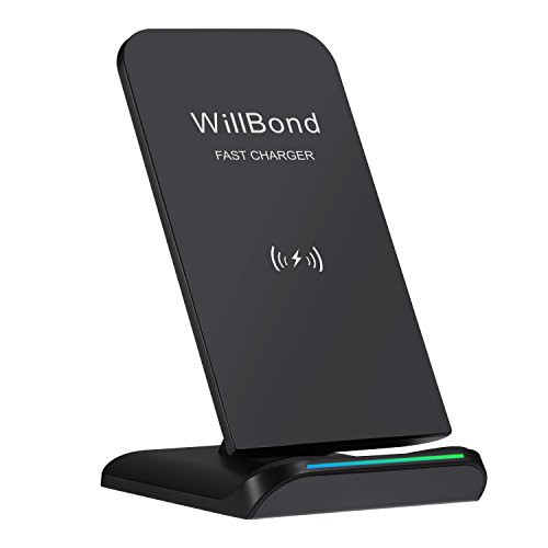 Willbond S9/ S9+ Fast Wireless Charger, 2 Coils QI Wireless Charging Stand for iPhone X/ 8/ 8 Plus, Galaxy S9/ S9+/ Note 8/ S8/ S8 Plus/ S7, Other QI-enabled Devices (No AC Adapter)