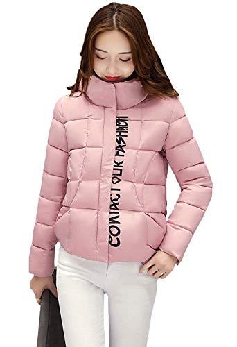 Autunno Pink Cappotto Cappuccio Invernali Digitale Cerniera Mantello Fashion Con Piumini Giacche Casual Trapuntata Slim Elegante Donna Fit Vintage Trapuntato Giacca Giovane Stampato 1Edn1q4