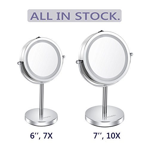 Lighted Makeup Mirror - 6'' LED Vanity Mirror 7x Magnification Double Sided Mirror Cosmetic Table Mirror Polished Chrome ALHAKIN by AlHAKIN (Image #5)
