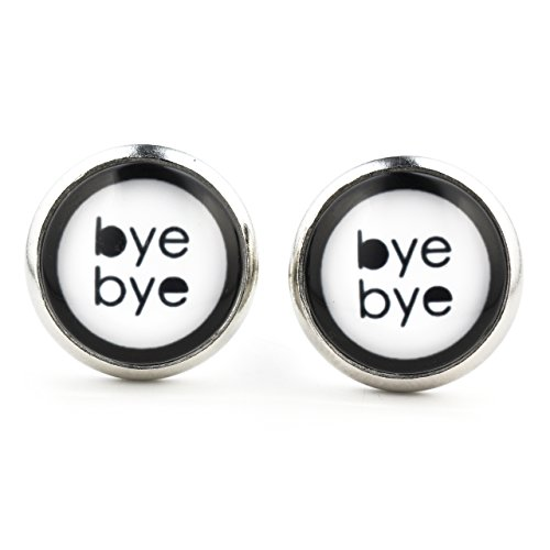 Saying Funny Bye Bye Ear Studs Jewelry Silver Dangle Earrings with Black and White 14