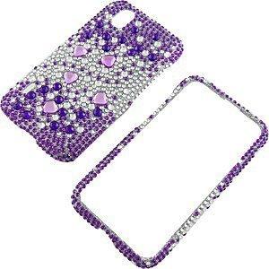 Rhinestones Protector Case for LG Marquee LS855, Purple Silver Gems Full Diamond ()