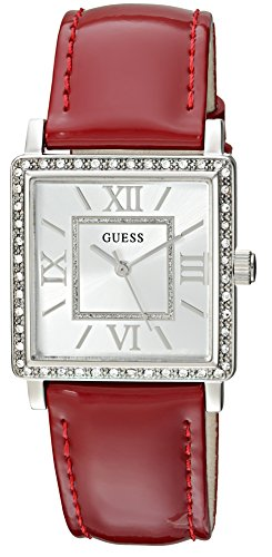 GUESS Women's U0829L2 Dressy Silver-Tone Watch with Silver Dial , Crystal-Accented Bezel and Genuine Leather Strap Buckle