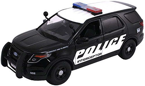 2015 Ford Interceptor Police Car Black/White 1/24 by Motormax 76954 (Toy Ford Explorer Police Car)